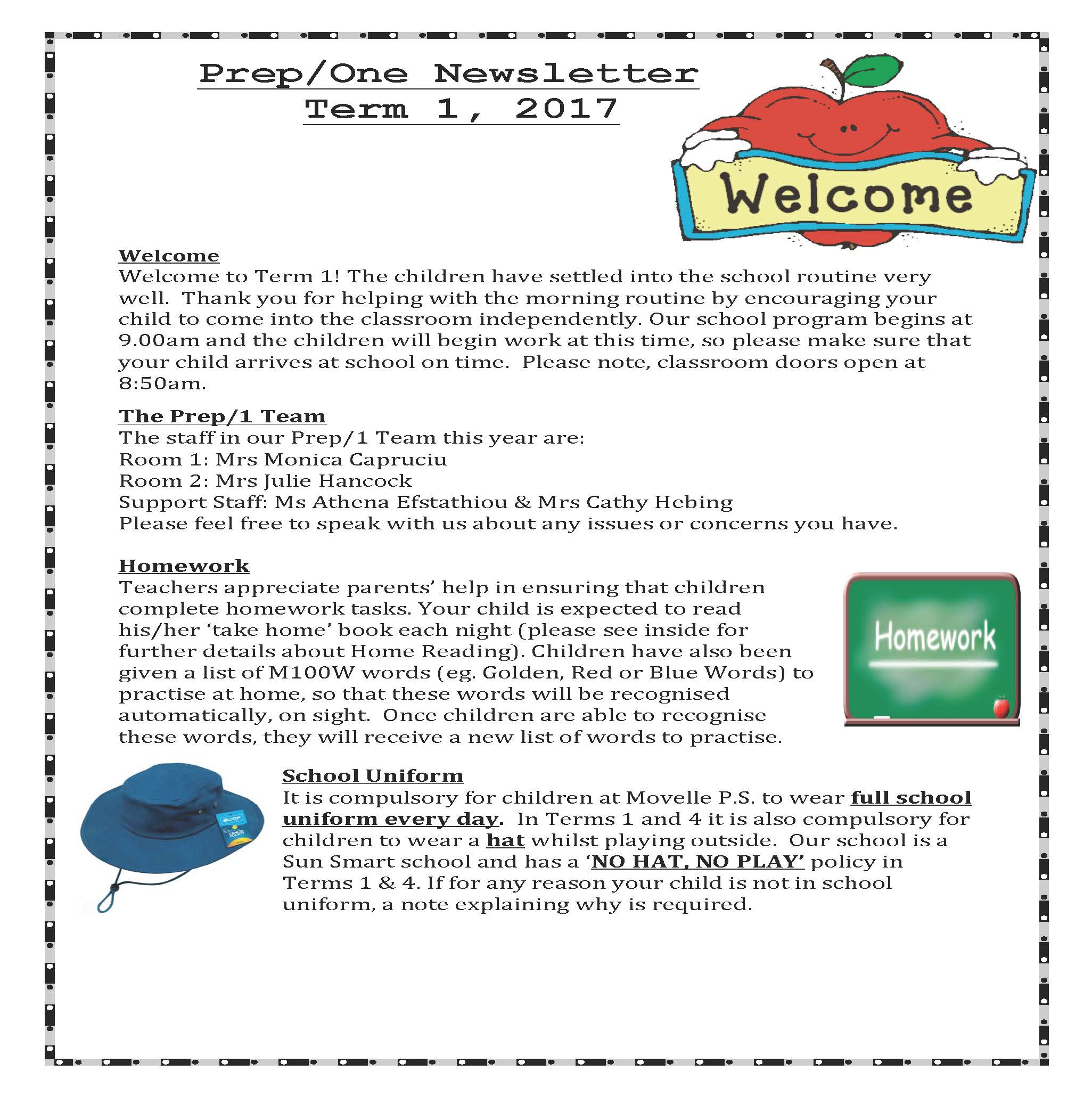 Page 1 Newsletter Prep/1s