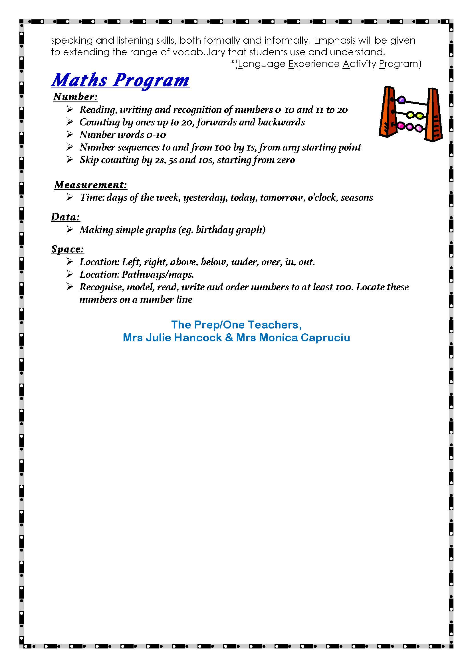 Page 5 Newsletter Prep/1s