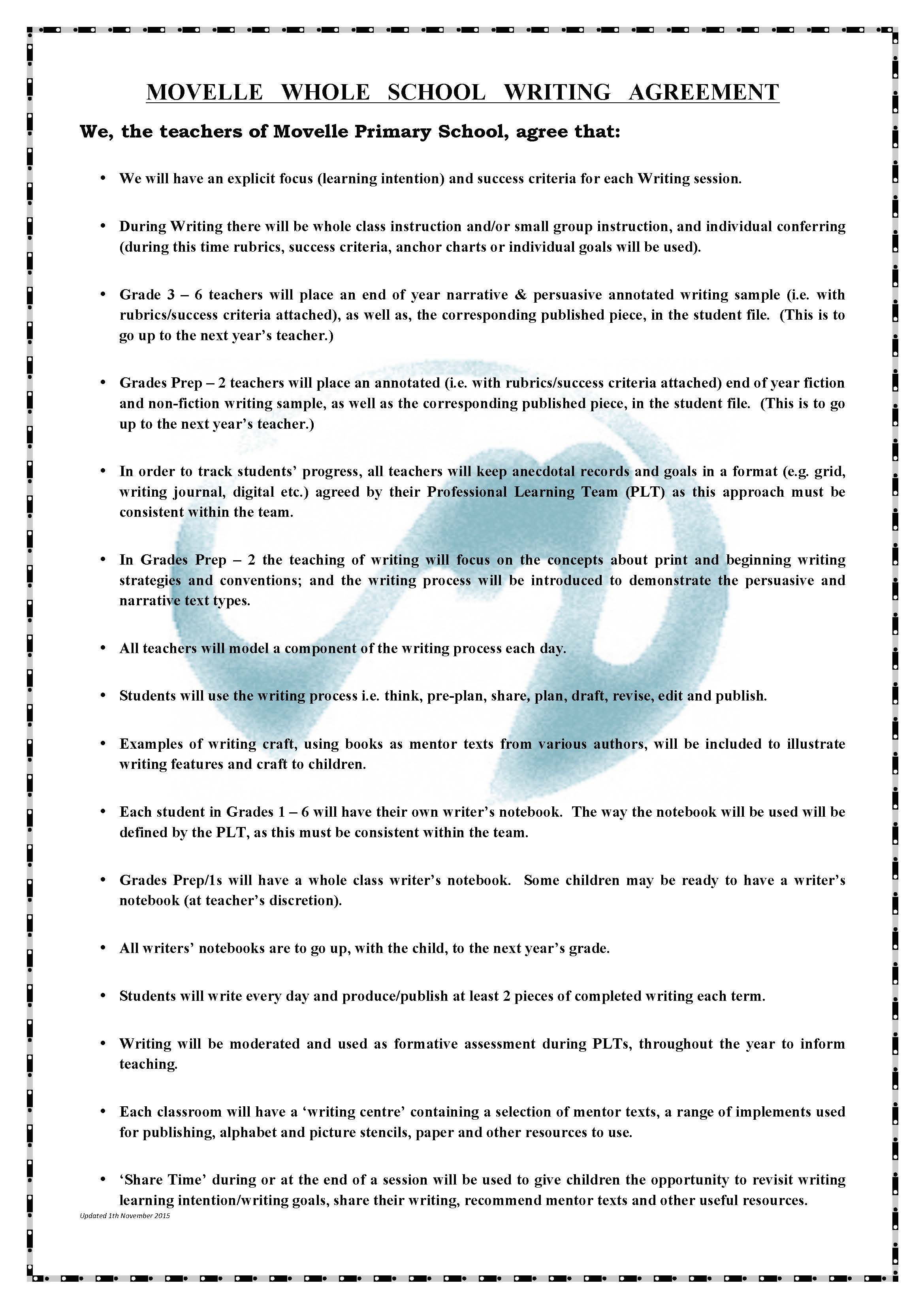 school curriculum agreements writing whole school agreement